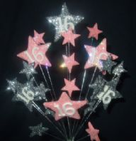 Star age 16th birthday cake topper decoration in pale pink and silver - free postage